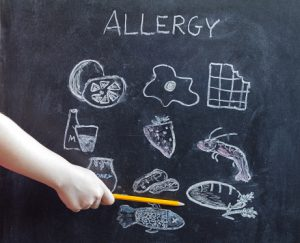 Allergy food and beverages on blackboard